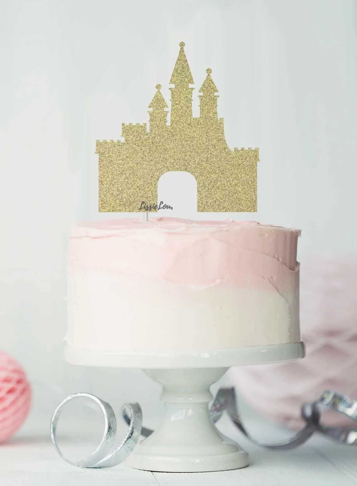 Princess Castle Birthday Cake Topper Glitter Card Lissielou
