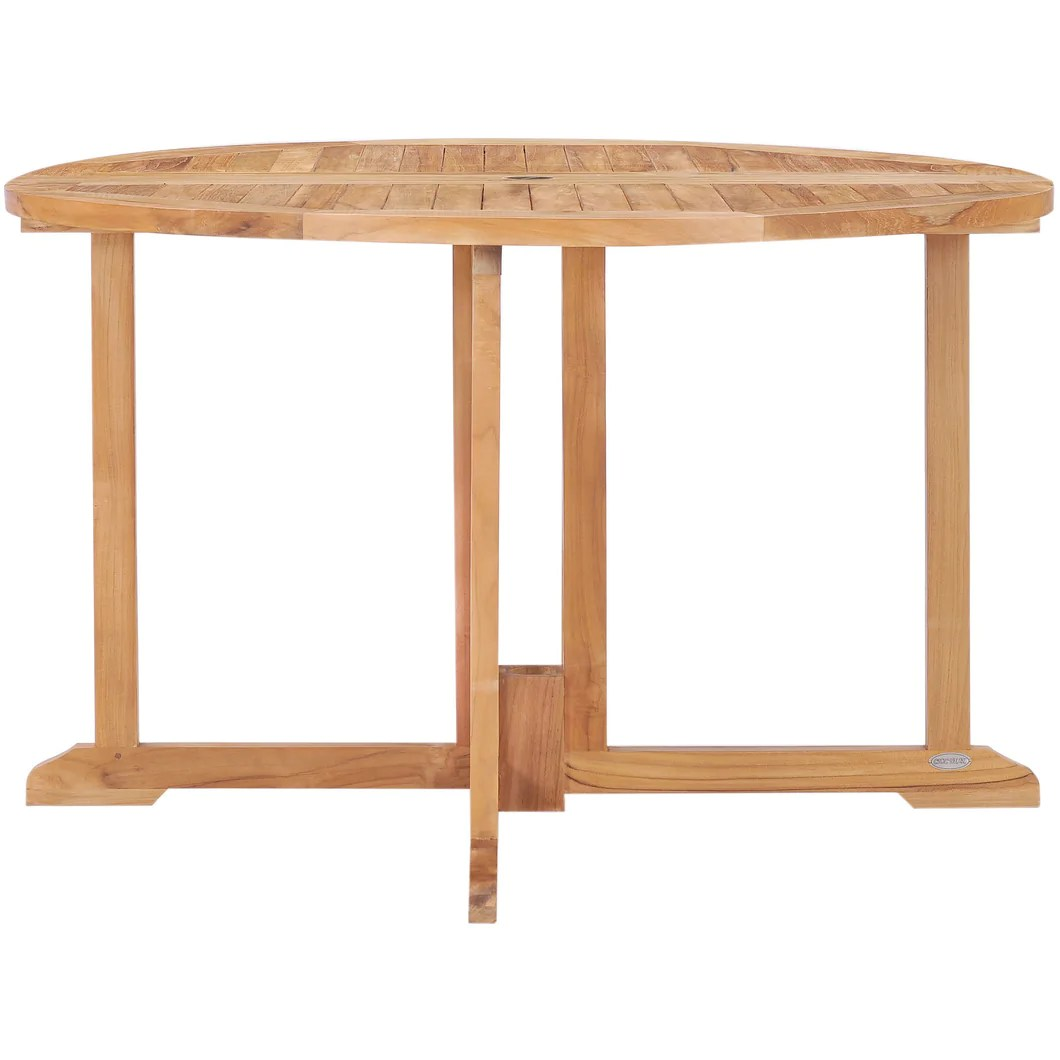 Teak Wood Butterfly Round Outdoor Patio Folding Table 47 Inch By Chic Teak Only 703 42