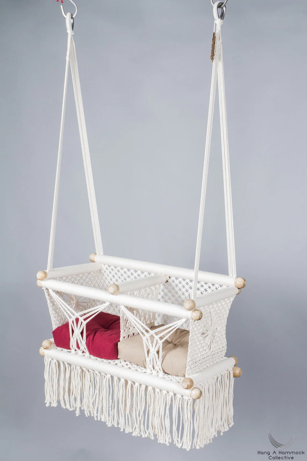 hanging chair for baby alps mountaineering leisure swing in macrame hangahammockcollective twins two points ivory color catalog photo