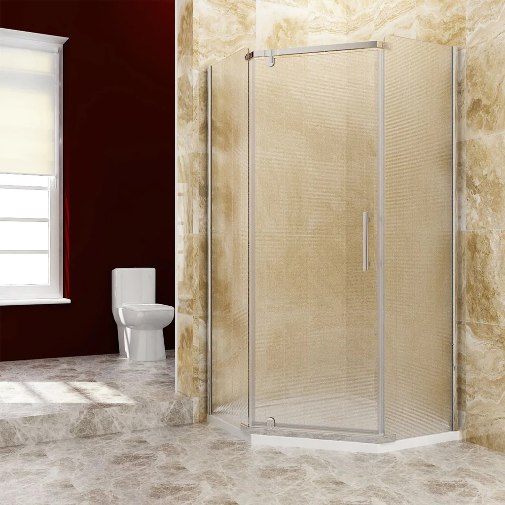 Sunny Shower Neo Angle Frameless Shower Door Corner Shower Enclosure Frosted Obscure Glass A33s221