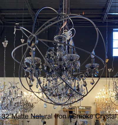 mn iron orb crystal chandelier