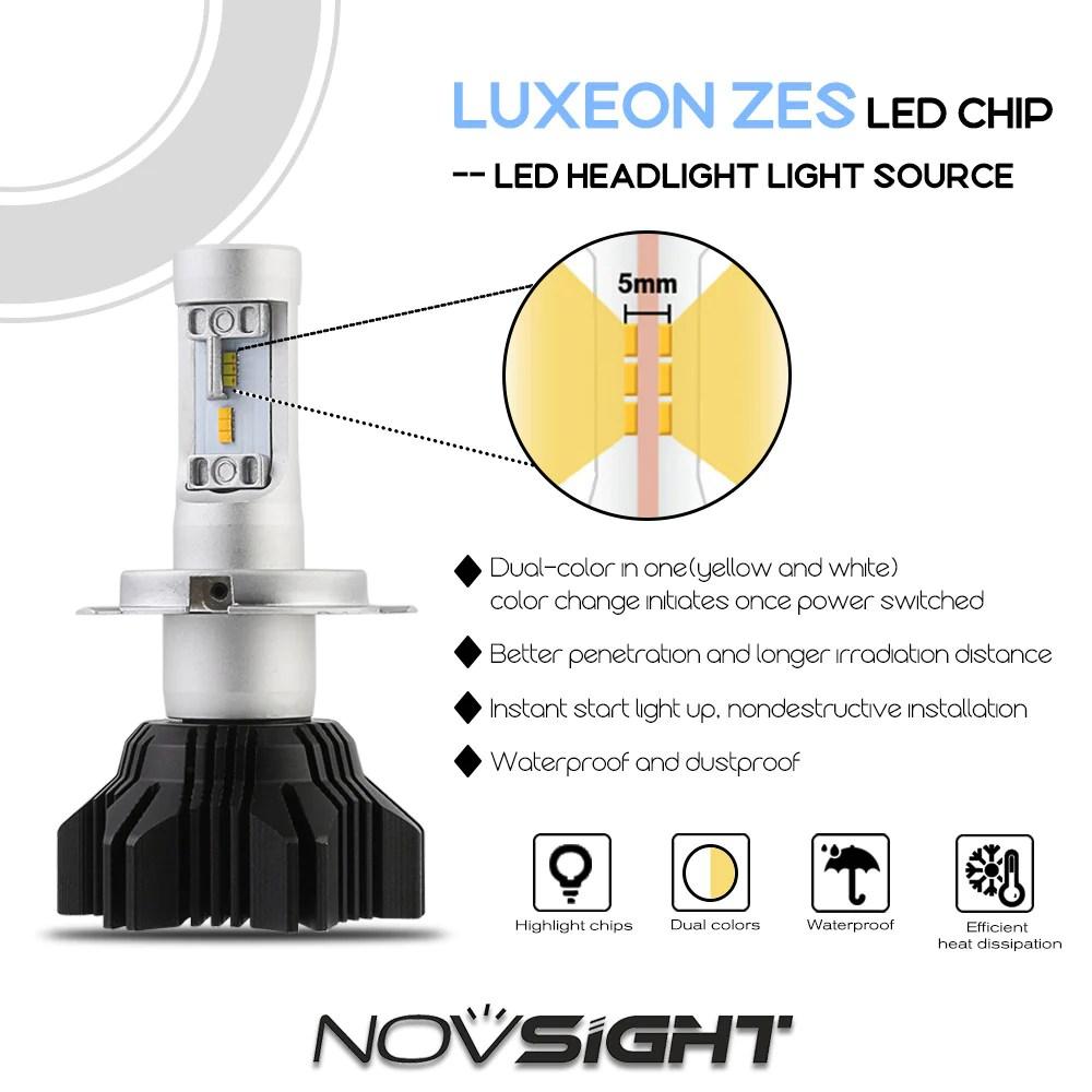 medium resolution of novsight h4 hb2 9003 led headlight light bulb dual color white yellow 40w 8000lm
