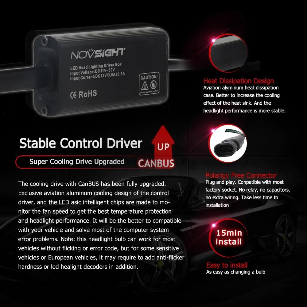 novsight a363 h4 9003 hb2 led headlight kit light bulb hi low white 6000k 80w  [ 1000 x 1000 Pixel ]