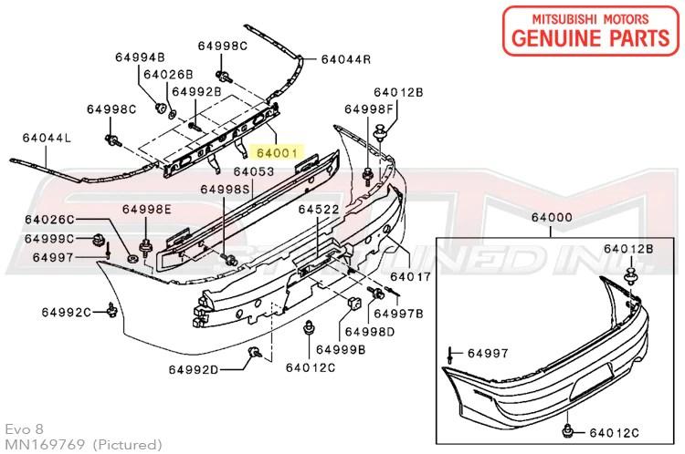 MN169769 Rear Bumper License Plate Bracket  OEM Evo 89 USDM