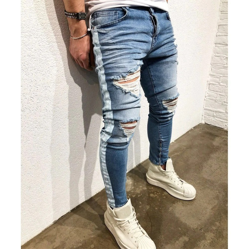aee1b9df8f44 Distressed Ripped Holes Side Striped Zipper Hip Hop Jeans