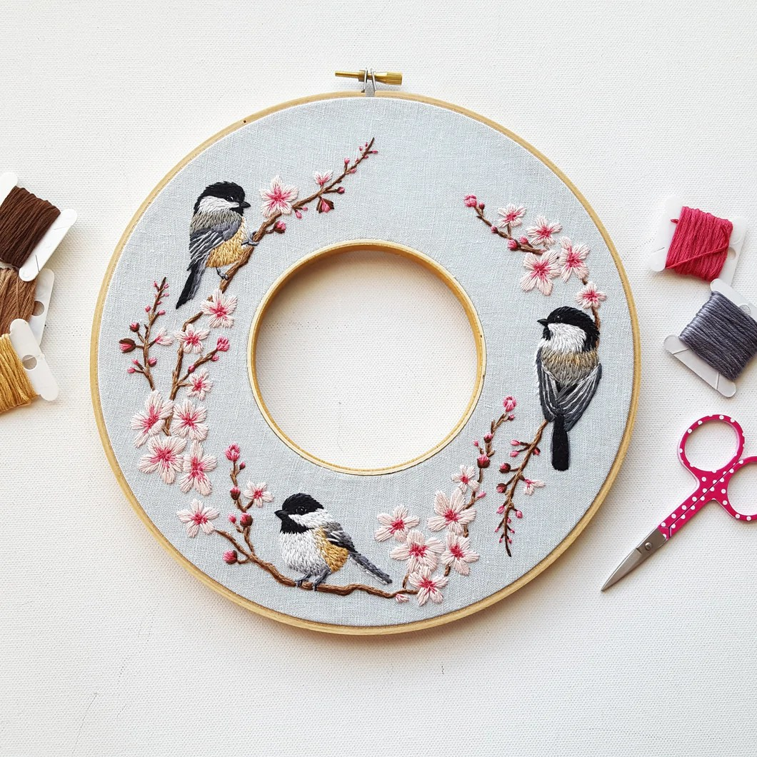 spring wreath embroidery pattern