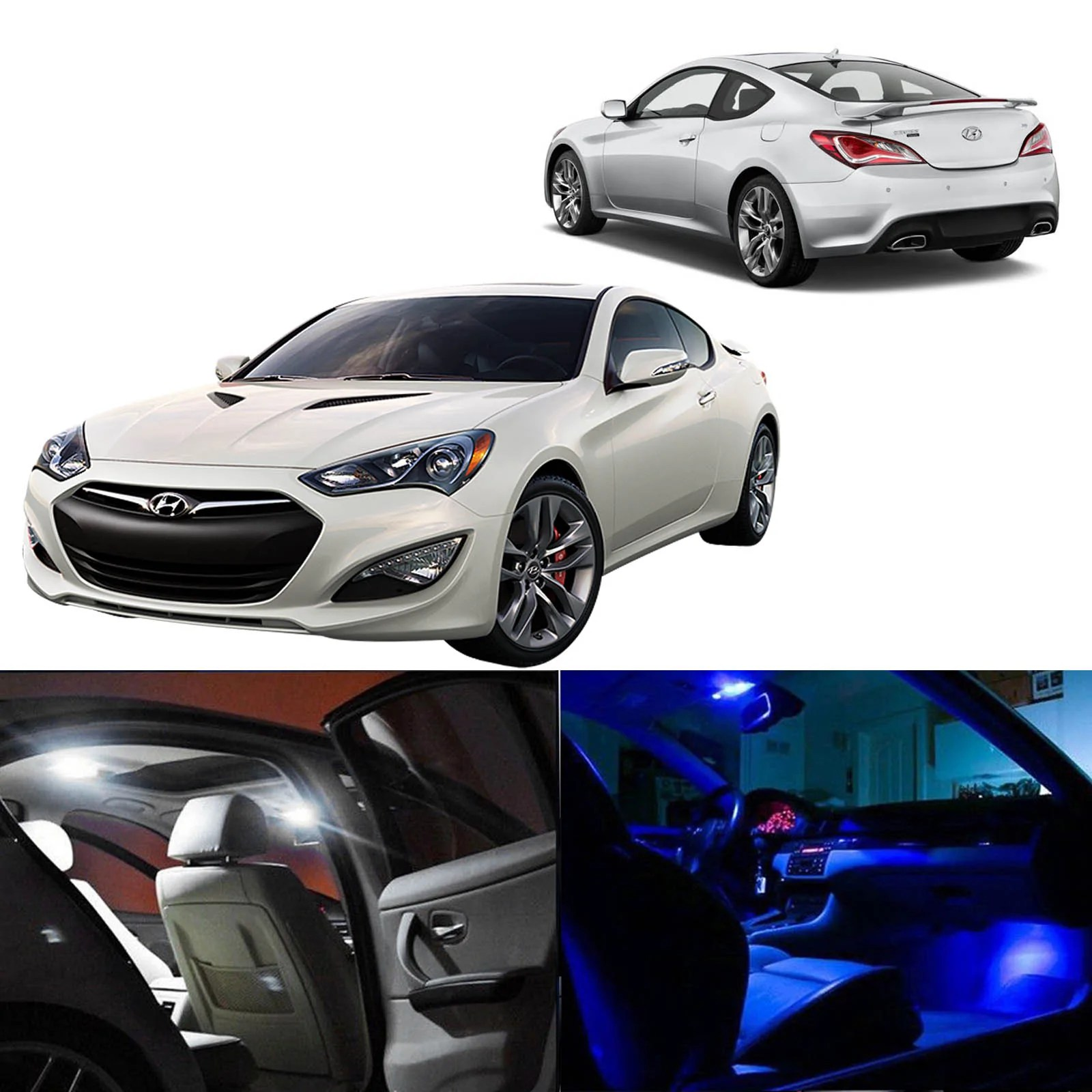 2010 2015 hyundai genesis coupe 6x interior led lights package kit white blue  [ 1600 x 1600 Pixel ]