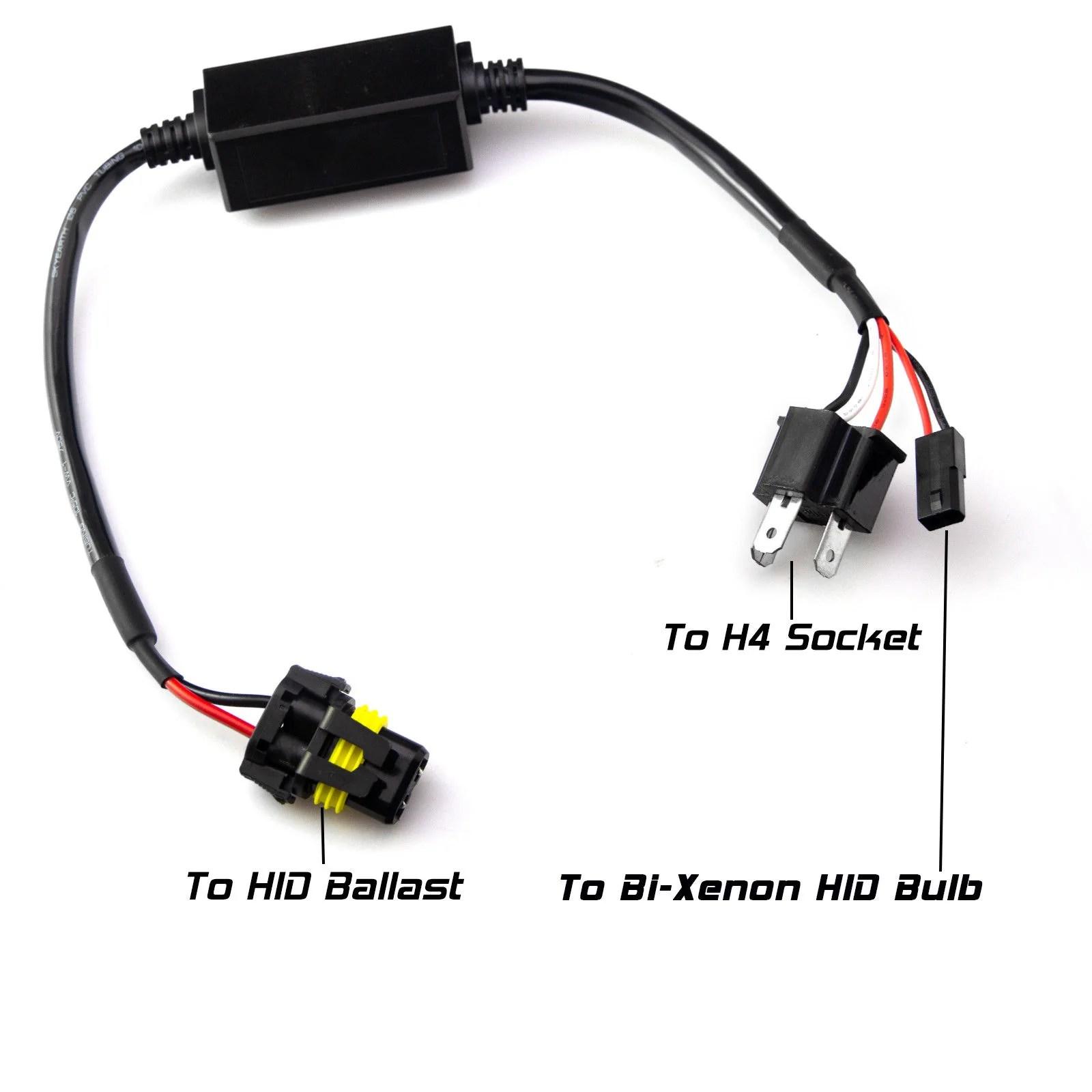 medium resolution of  2pcs easy relay h4 9003 hi lo bi xenon hid conversion kit wiring harness