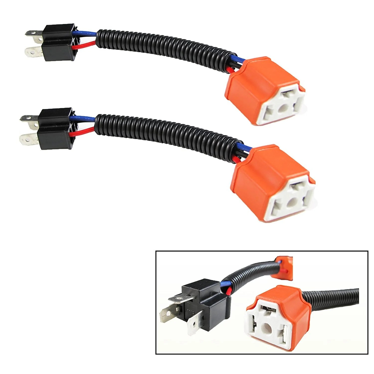 h4 9003 ceramic wire wiring harness sockets adpters for headlights fog lamp  [ 1500 x 1500 Pixel ]