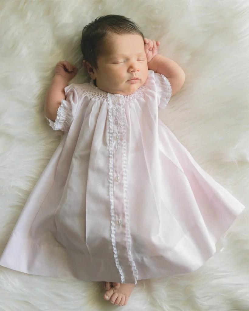 Feltman Brothers - Newborn Baby Girls Smocked Yoke Open