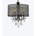 Antique Black 4 Light Round Crystal Chandelier Chandelier Crystal Lights