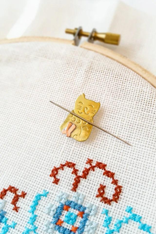 Needle Minder Diy : needle, minder, Needle, Minder, Cross, Stitch, Embroidery, Stitched, Modern
