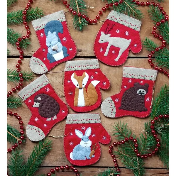 Wool Felt Ornament Applique Kit Christmas Critters Stitched Modern