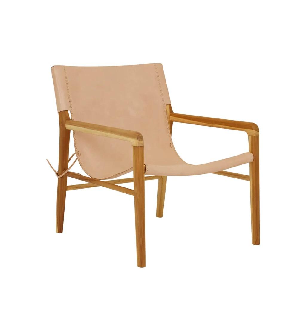 Fenton Fenton Leather Sling Chair In Teak Natural