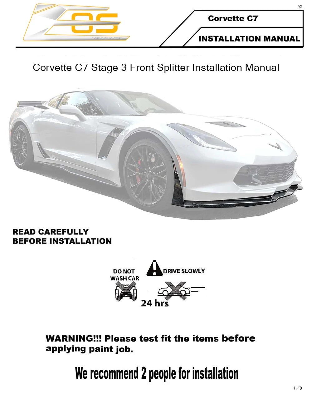 corvette c7 stage 3 front splitter installation instruction [ 1000 x 1294 Pixel ]