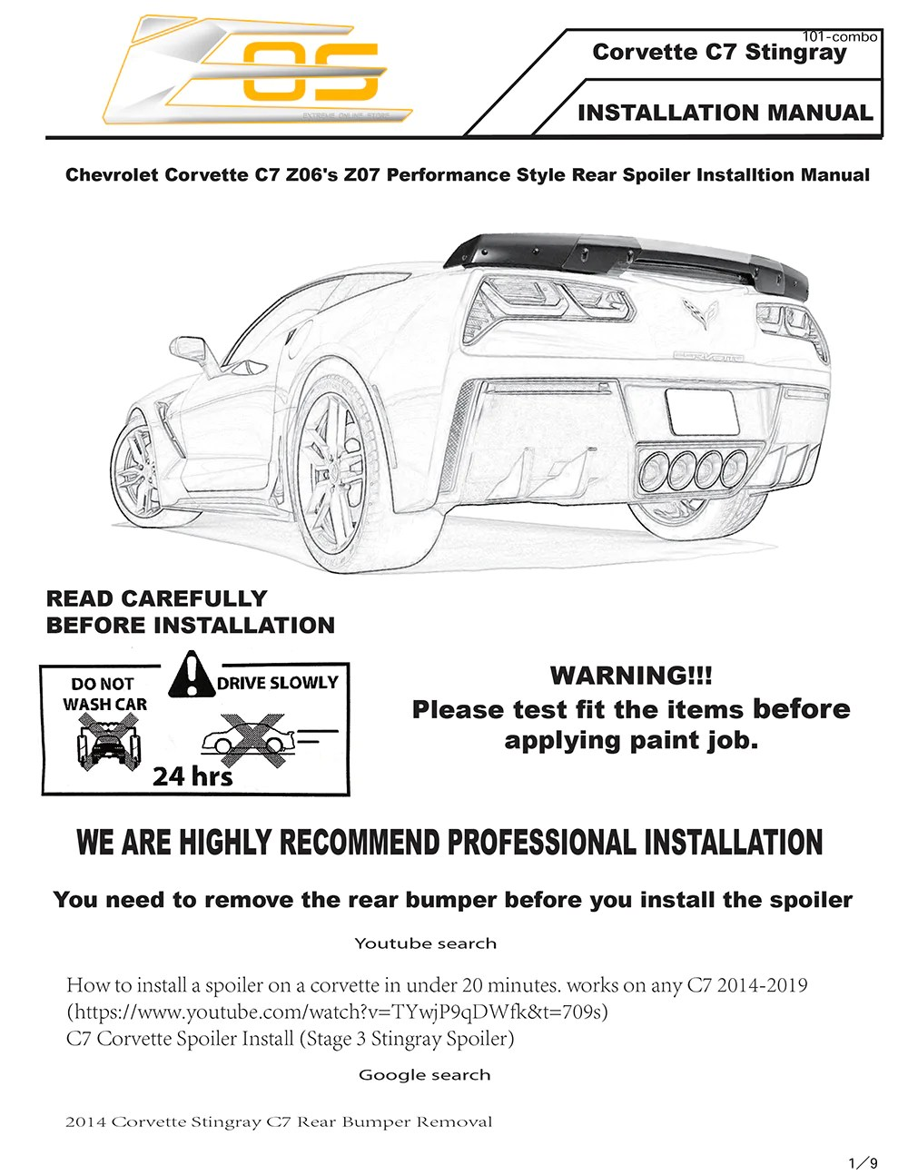 corvette c7 stingray z51 rear spoiler installation instruction [ 1000 x 1294 Pixel ]
