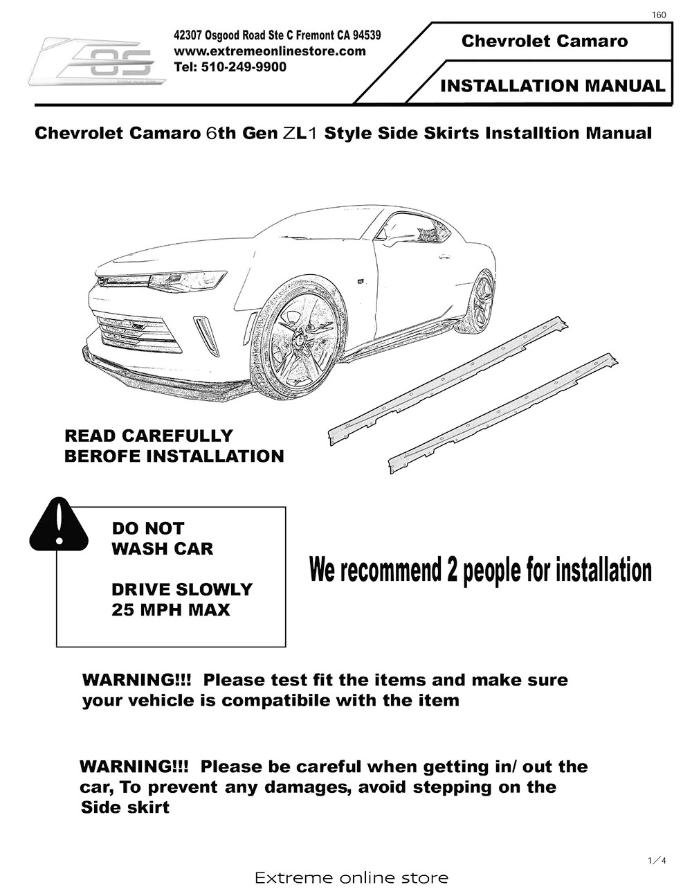 small resolution of 6th gen camaro zl1 side skirts rocker panels installation instruction