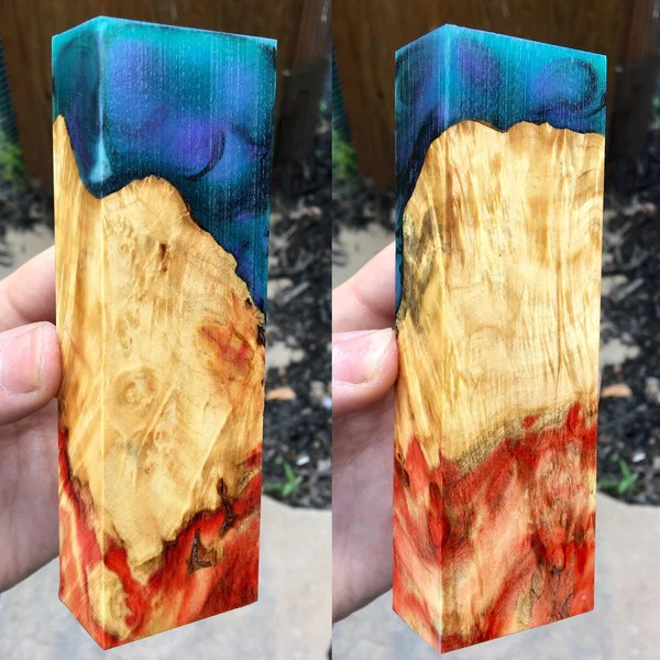 Flame Box Elder w PurpleGreen and Black Resin Hybrid
