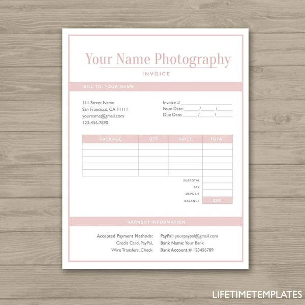 Photographer Invoice Form - Photoshop Template for Photographers ...