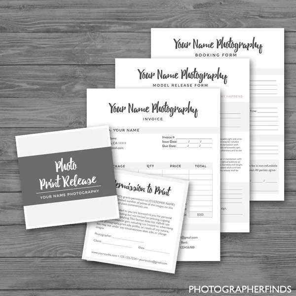 Photography Forms Minimal Templates (Set of 4) - Model Release ...