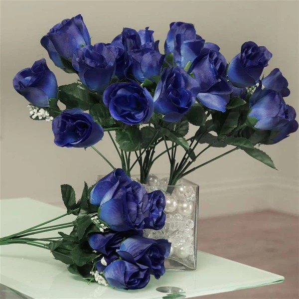 Silk Rose Buds  Navy Blue  84pk  Silk Flowers Factory