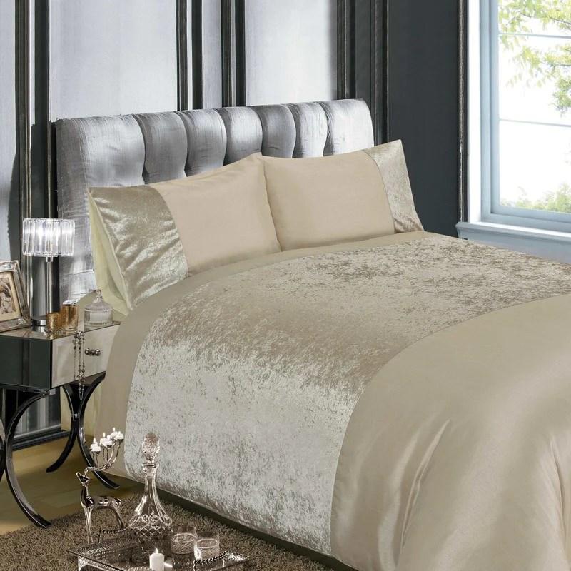 crushed velvet bedding set natural