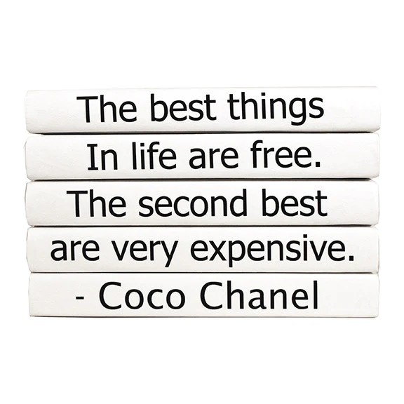 office chair vs stool oversized comfy e lawrence the best things in life are free coco chanel quote book set – clayton gray home
