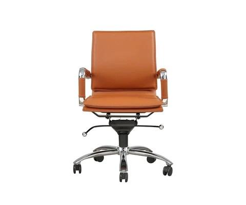 orange office chair wishbone chairs dania furniture brock low back