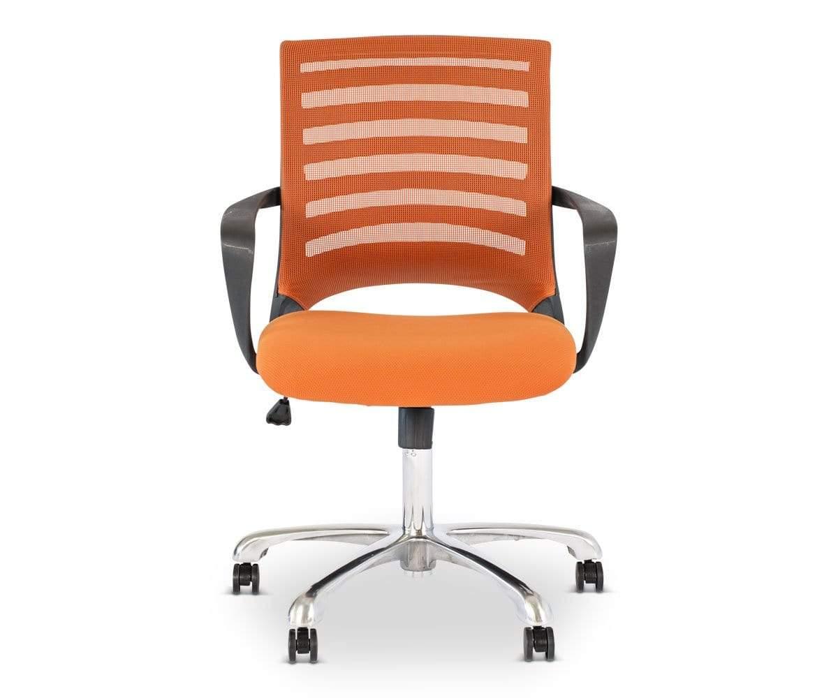 orange office chair purple arm chairs dania furniture barrier desk