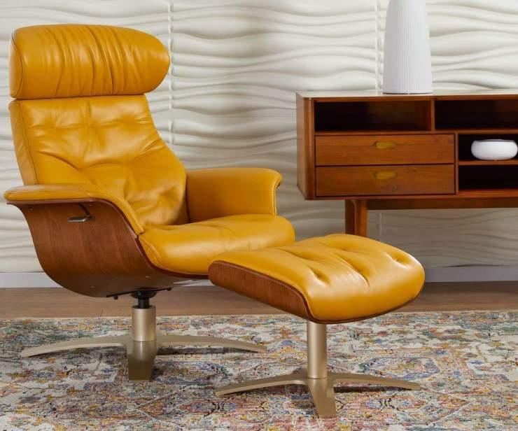 Mid Century Modern Office, Anselmo Leather Recliner & Ottoman - Scandinavian Designs