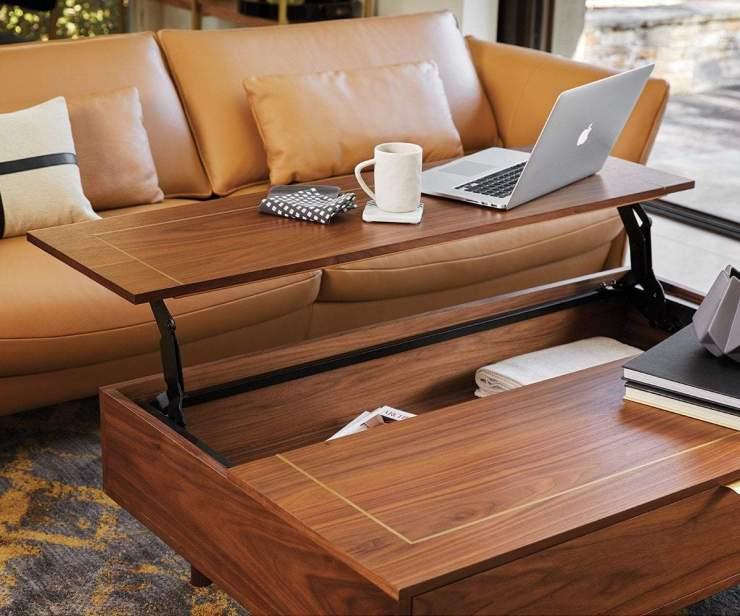 Kallan Lift Top Storage Coffee Table Walnut - Scandinavian Designs