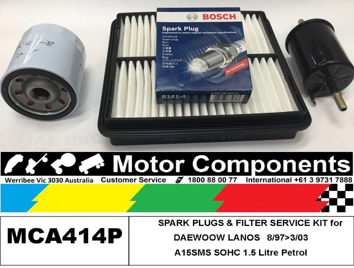 medium resolution of plugs filter kit for daewoo lanos sohc 1 5l a15sms 8 97 3