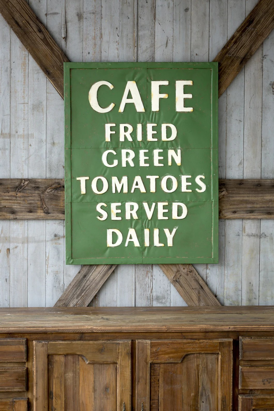 Vintage Embossed Metal Fried Green Tomatoes Sign Farmhouse Fresh Home