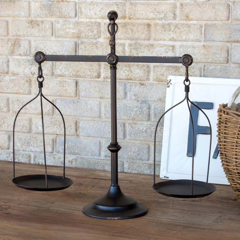 Decorative Iron Balance Scale with Bird Topper  Farmhouse