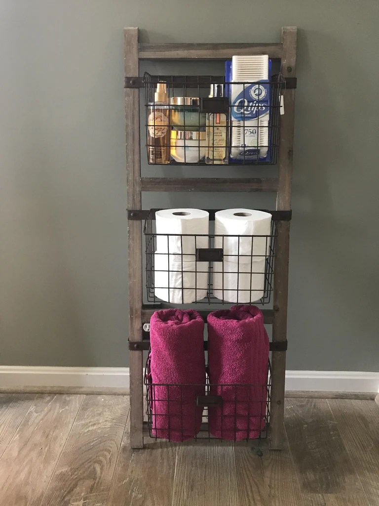 kitchen storage canisters houzz outdoor kitchens wooden ladder shelf with wire baskets – farmhouse fresh home