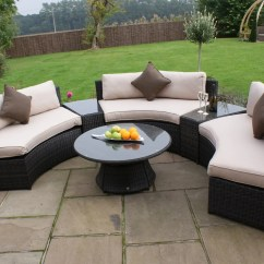 Maze Rattan Half Moon Sofa Set Grey Mustard Corner Bed Curved Outdoor Garden Furniture Weave