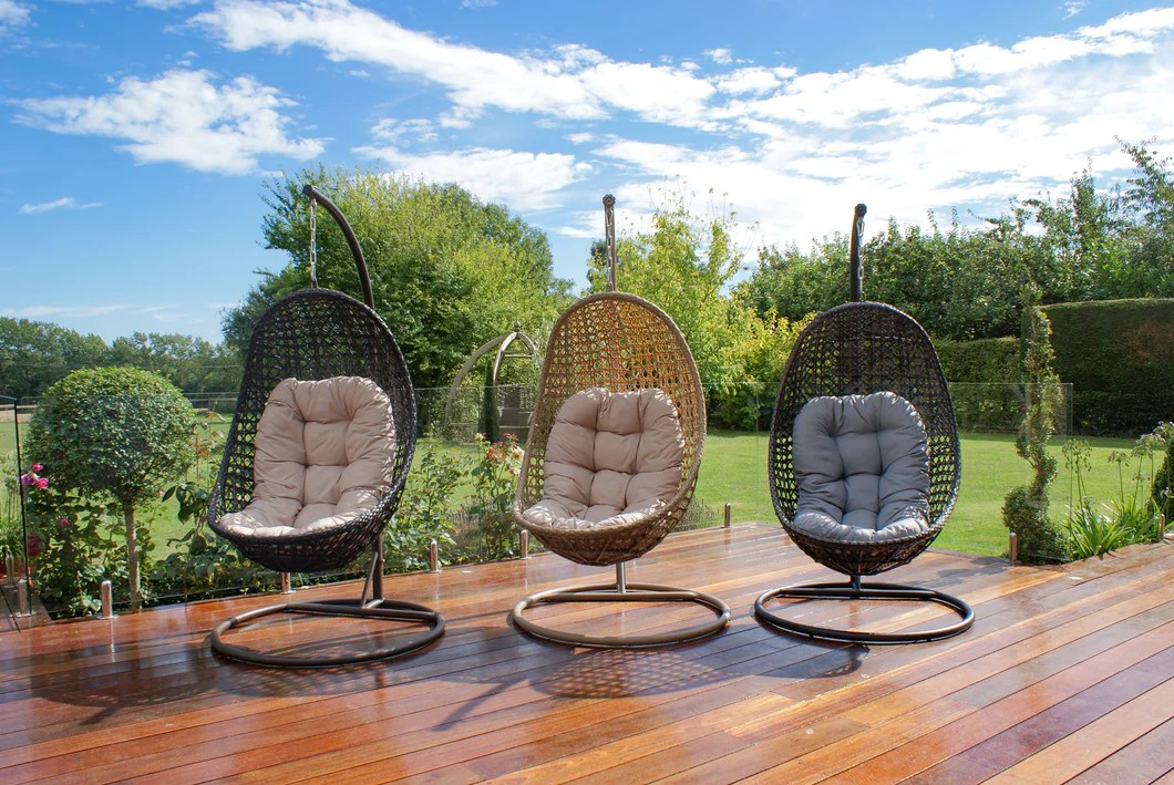 hanging garden pod chair uk exercises for elderly rattan malibu outdoor furniture brown weave