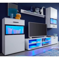 Living Room Sets With Tv Victorian Decor Furniture Entertainment Units Cabinets Eden Wall Mounted Unit Set In White Led Lights