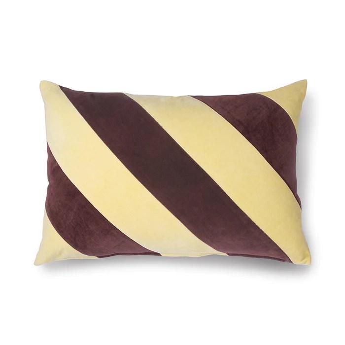 striped lumbar pillow velvet maroon and yellow