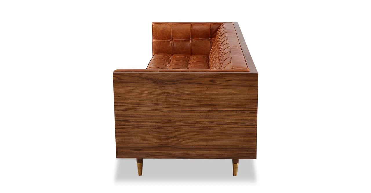 Woodrow Box Sofa Walnut Manitou Distressed Leather