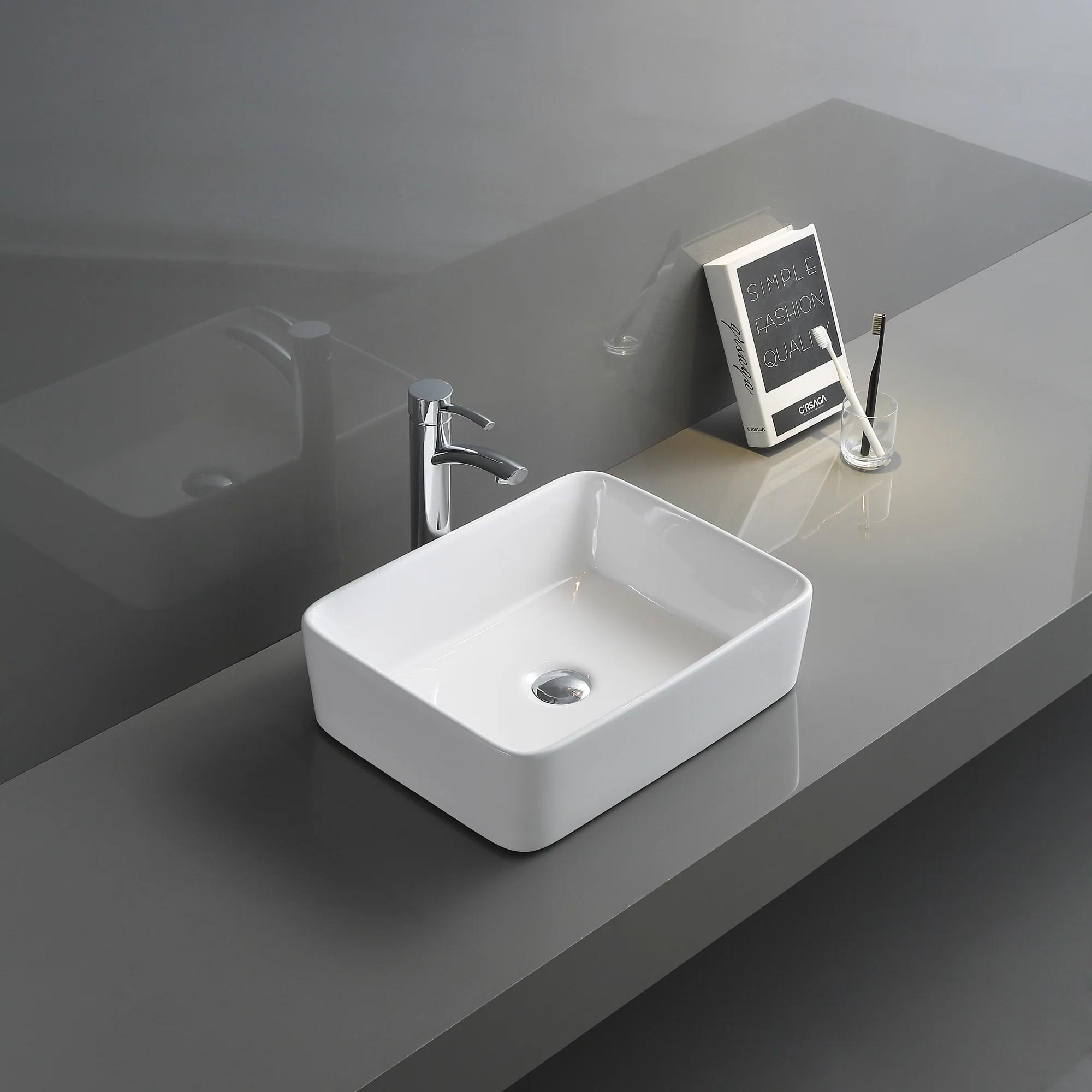 ruvati 19 x 14 inch bathroom vessel sink white rectangular above vanity counter porcelain ceramic