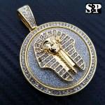 Hip Hop Iced Lab Diamond Gold Plated Egypt Pharaoh Medallion Pendant