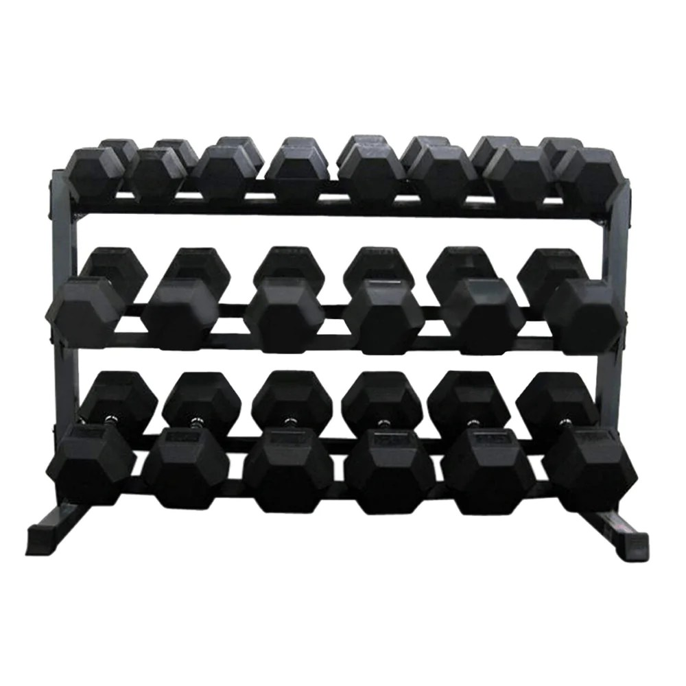force usa 3 tier rubber hex dumbbell rack
