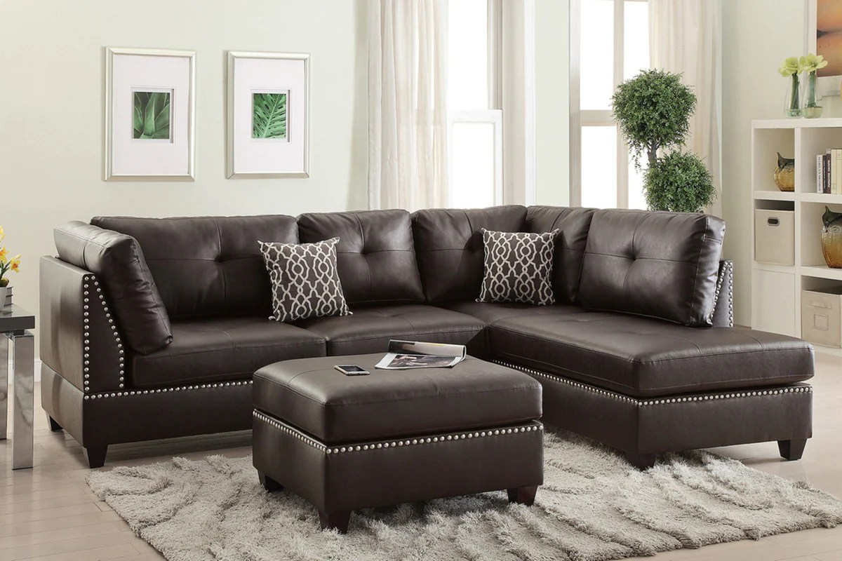 white leather sectional sofa with ottoman charles replica bonded w 3 pcs espresso deco