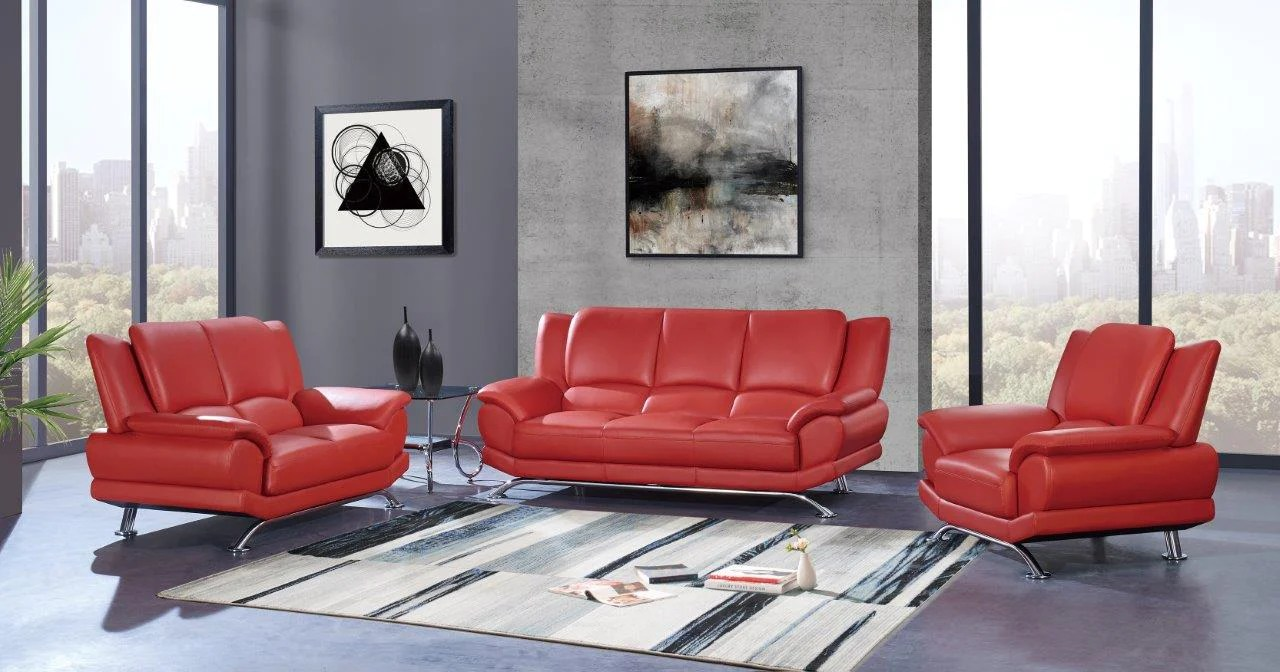 red living room set collection sofa loveseat chair deco furniture group