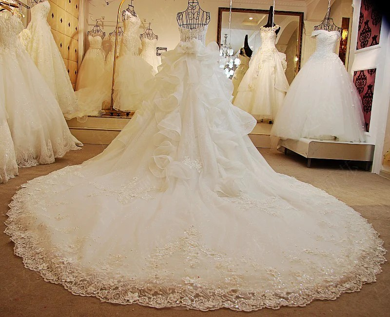 TW5 Heavy Handmade Off Shoulder White Ball Gown Lace