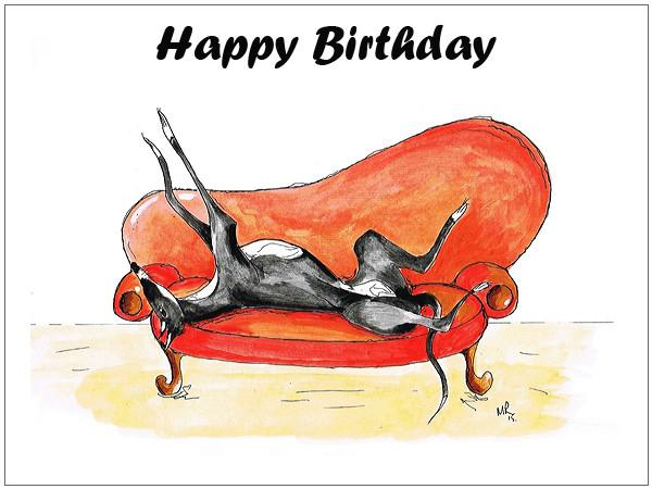 Lurcher Birthday Card Greeting Cards Art By Mike Ramshaw
