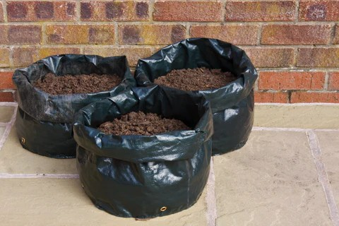 Grow Bags Filled with Soil