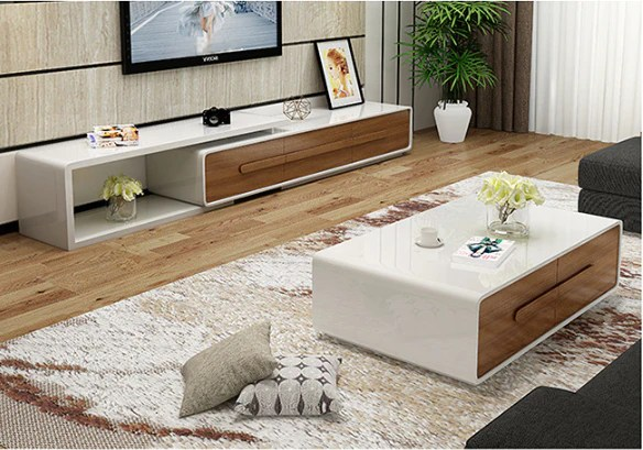 modern style tv extendable tv unit or multi drawers coffee table d12