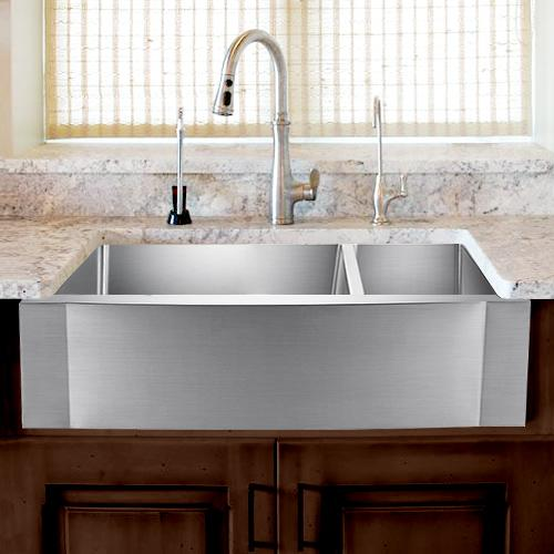 33 sterrett stainless steel 70 30 offset double bowl farmhouse sink rippled apron